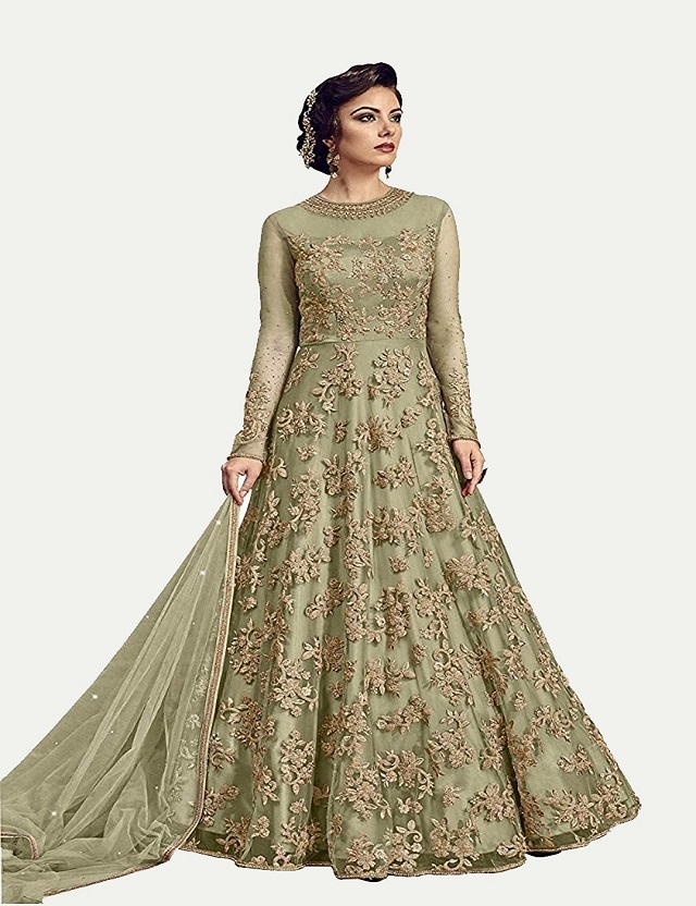 Aaru Fashion Women's Net Semi-Stiched Anarkali Gowns India 2020