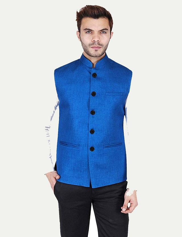 Brand Vastraa Fusion Men Cotton-Blended Export-Quality Indian Traditional Nehru Jacket/Modi Ethnic Waistcoat INDIA 2020